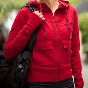 Lululemon Carry & Go Red Hoodie Gym Jacket Size 6